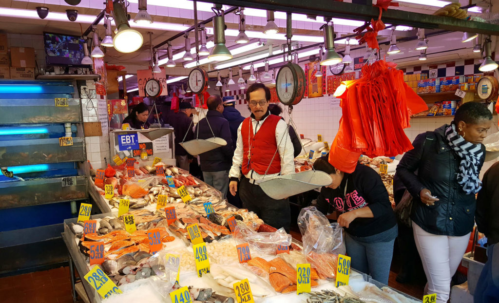 New York, China Town, mercato del pesce